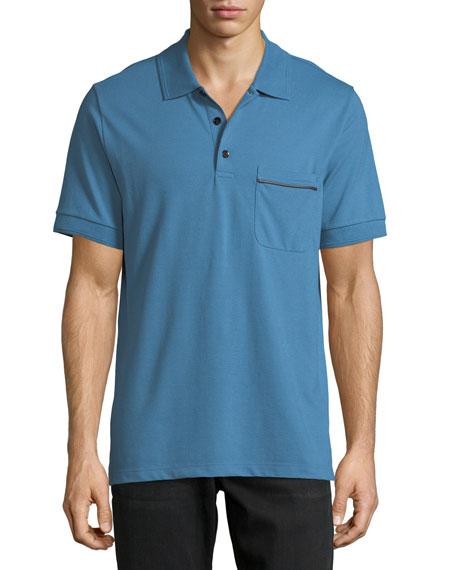 Leather-Trim Polo Shirt, Marine Blue