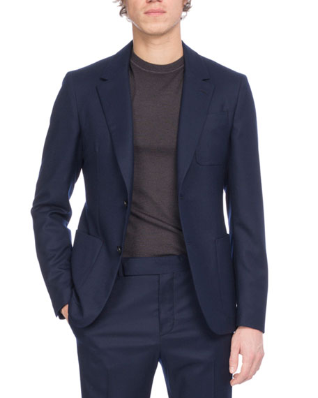Berluti Wool Suit Jacket, Dark Blue
