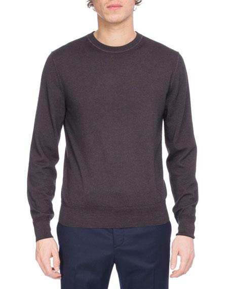 Garment-Dyed Wool Crewneck Sweater, Black