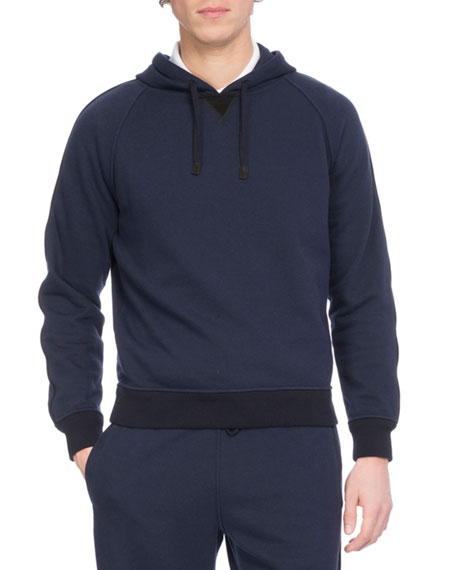 Hooded Pullover Hoodie Sweatshirt with Leather Trim, Dark Blue