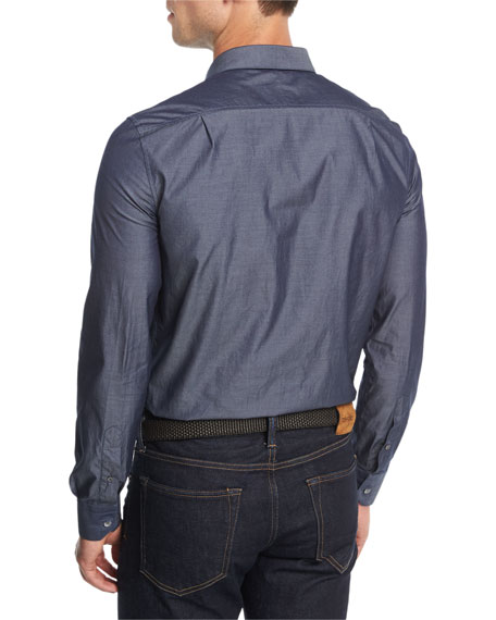 Chambray Concealed-Placket Shirt