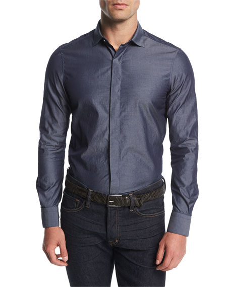 Berluti Chambray Concealed-Placket Shirt