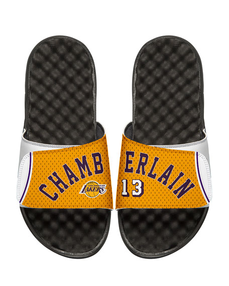 Men's NBA Retro Legends Wilt Chamberlain #13 Jersey Slide Sandals, White