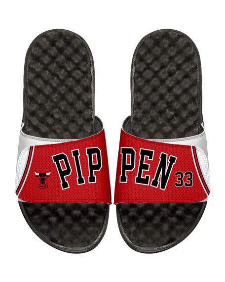 Men's NBA Retro Legends Scottie Pippen #33 Jersey Slide Sandals, White