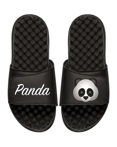 Panda Emoji Slide Sandal, Black