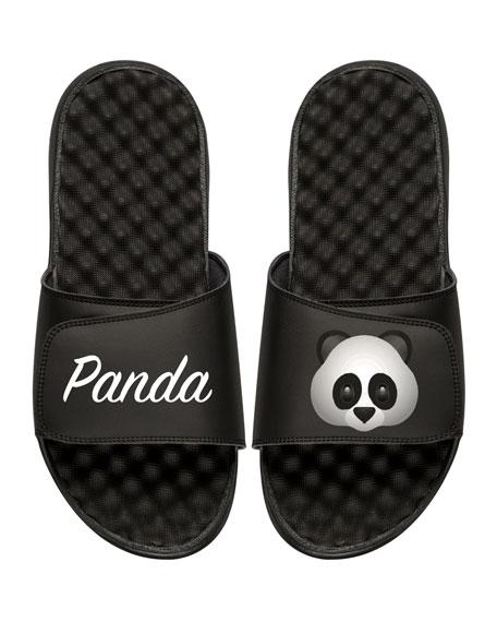 ISlide Panda Emoji Slide Sandal, Black