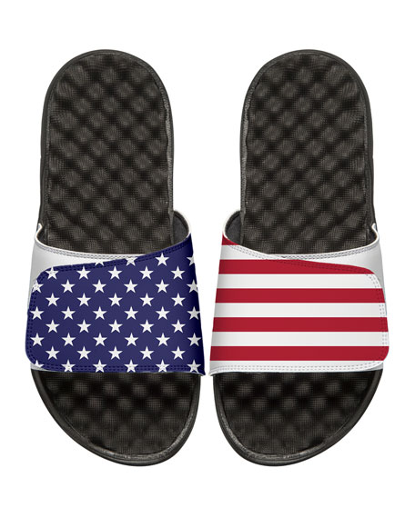 American Flag Slide Sandal, White