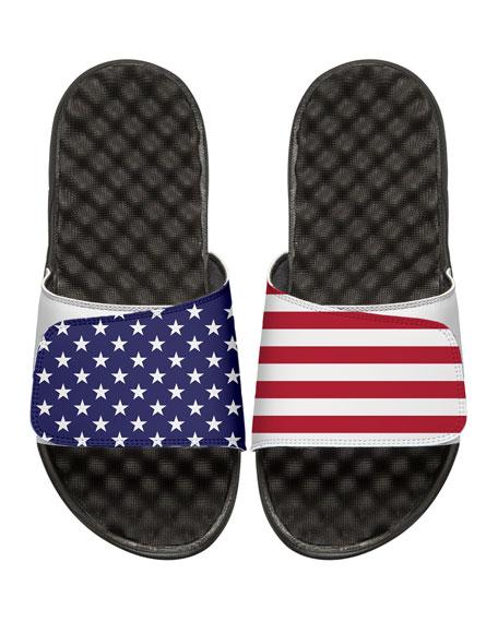 ISlide American Flag Slide Sandal, White