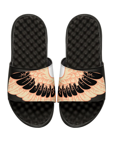 Wing-Print Slide Sandal, Black