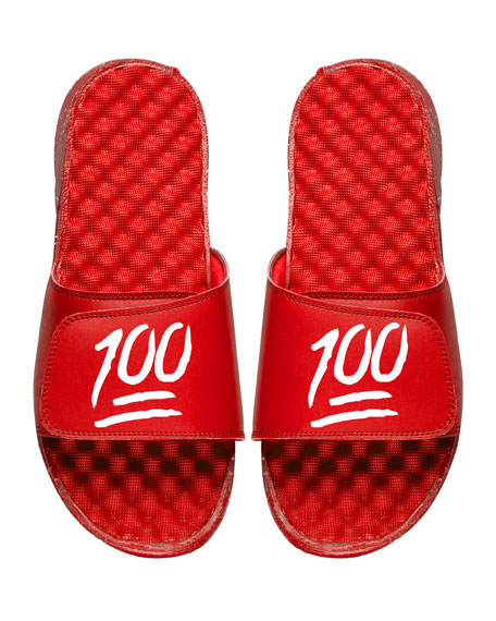 Men's Keep It 100% Emoji Slide Sandals, Red