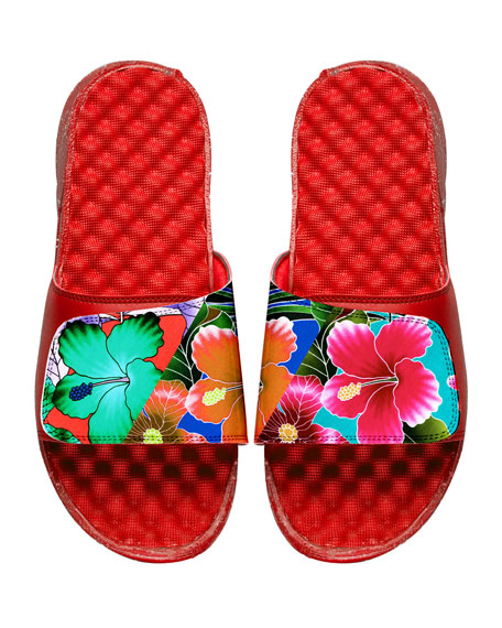 ISlide Men's Tropical Floral Slide Sandals, Red