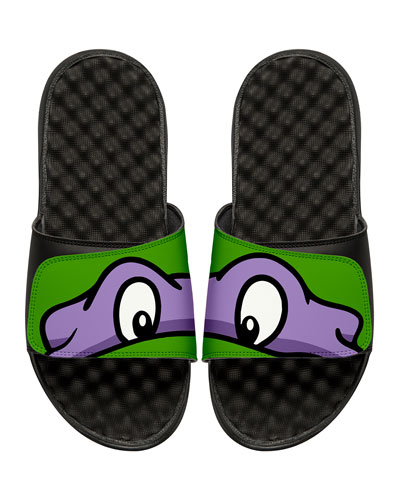 Men's Teenage Mutant Ninja Turtles Donatello Slide Sandals, Black