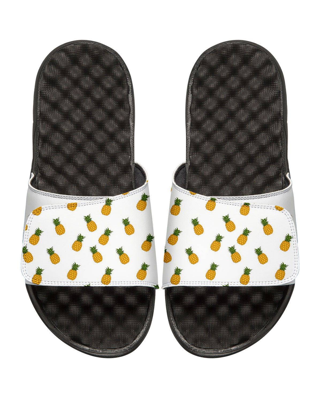 ISlide Men's Pineapple Slide Sandals, White   Neiman Marcus