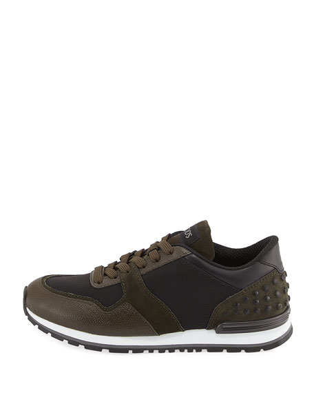 Men's Nylon & Leather Trainer Sneaker, Black/Green