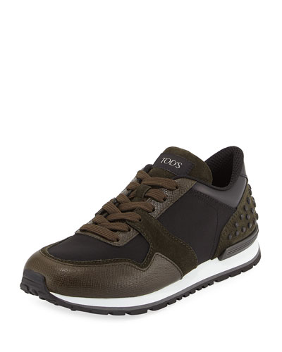 Nylon & Leather Trainer Sneaker, Black/Green