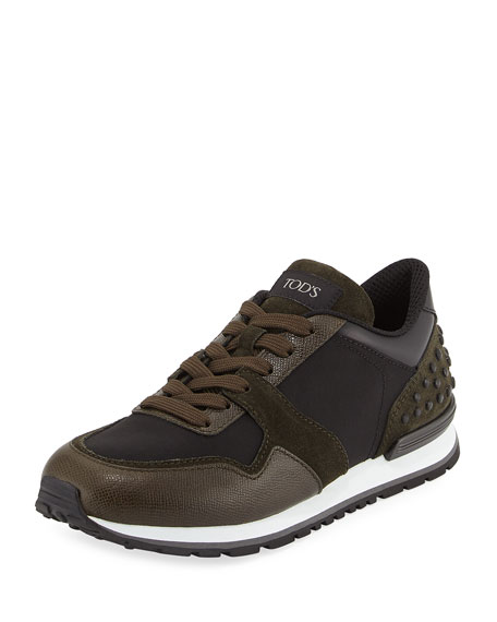 Tod's Nylon & Leather Trainer Sneaker, Black/Green