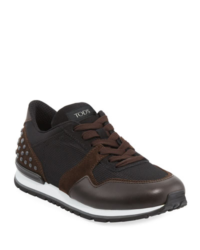 Men's Mesh & Leather Trainer Sneakers, Black/Brown