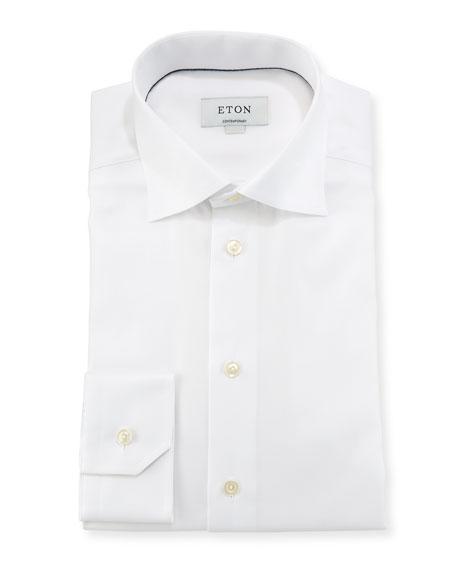 Eton Textured Solid Dress Shirt, White
