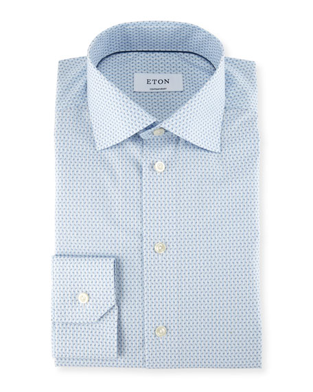 Eton Striped Paisley-Print Dress Shirt