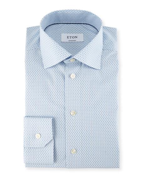Eton Striped Paisley-Print Dress Shirt