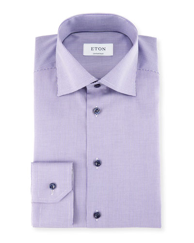Textured Stripe Cotton Dress Shirt