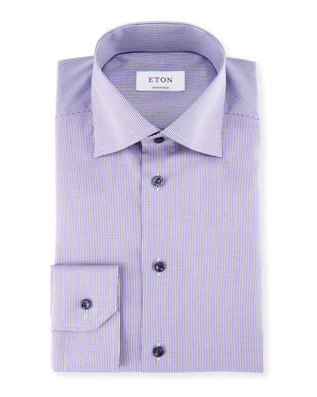 Eton Textured Stripe Cotton Dress Shirt