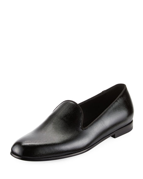 Vernice Textured Leather Loafer, Black