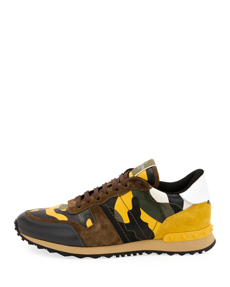 Rockrunner Camo Leather Sneaker, Yellow