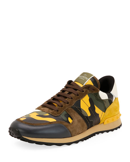 Valentino Garavani Men's Rockrunner Camo Leather Sneaker, Yellow