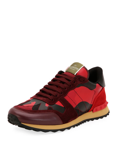 Men's Rockrunner Camo Leather Sneaker, Red