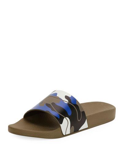 Men's Camo Rubber Slide Sandal, Green/Blue