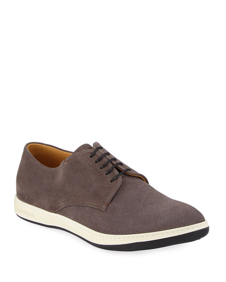 Giorgio Armani Perforated Suede Derby Shoe, Black