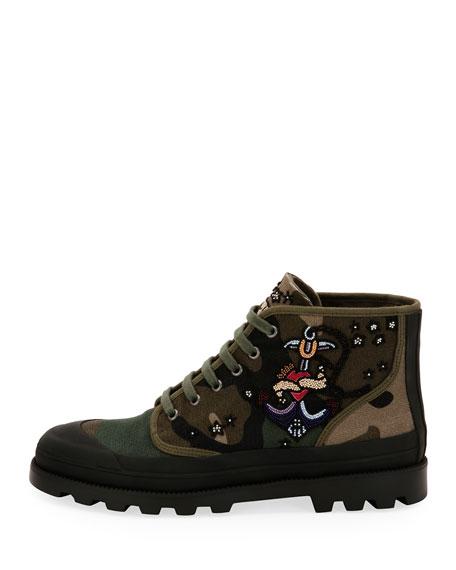 Tattoo Canvas Combat Boot, Green