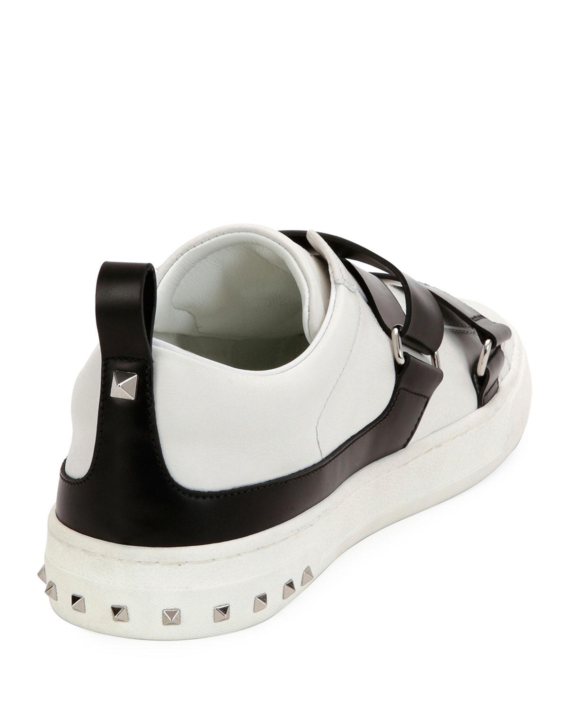 5abb483b032c0 Valentino Garavani V Punk Leather Buckle-Strap Sneaker, White/Black    Neiman Marcus