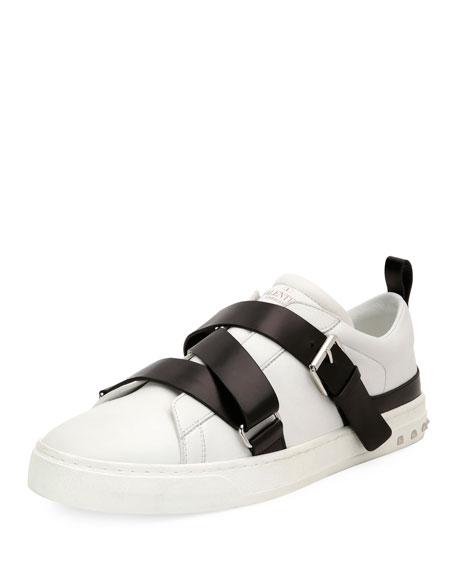 V Punk Leather Buckle-Strap Sneaker, White/Black