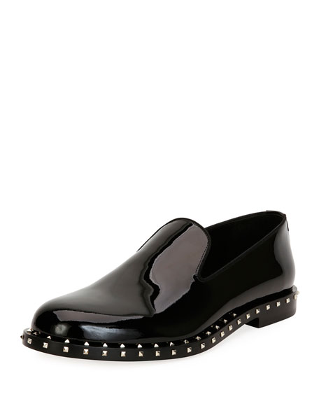 Valentino Garavani Soul Rockstud Patent Leather Formal Slipper,