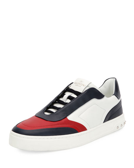 Valentino Garavani Colorblock Leather Low-Top Sneaker, Blue