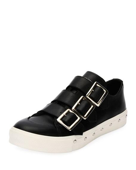 Alexander McQueen Triple-Buckle Leather Tennis Shoe, Black
