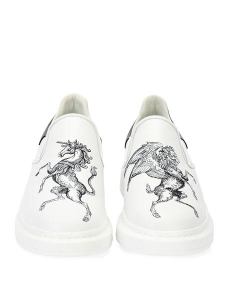Etched Griffin & Unicorn Leather Slip-On Platform Sneaker, White/Black