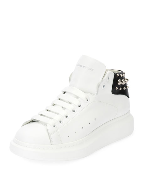 Alexander McQueen Studded Leather High-Top Sneaker, White/Black