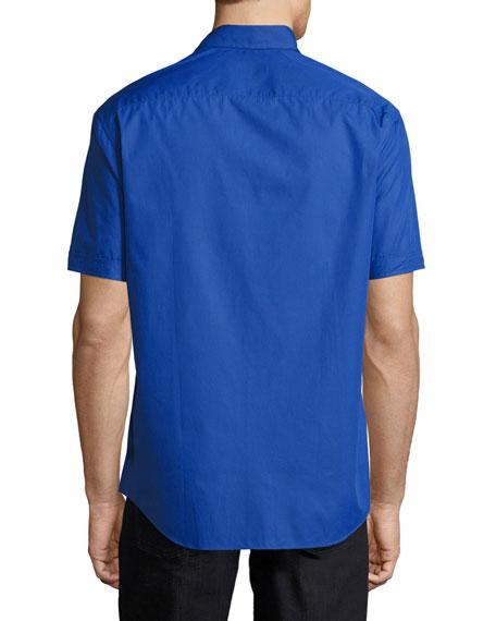Solid Cotton Short-Sleeve Shirt, High Blue