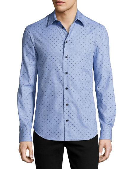 Woven Dot Sport Shirt, Blue