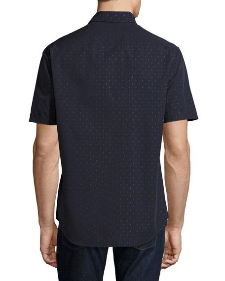 Neat Dot Short-Sleeve Sport Shirt, Navy Blue