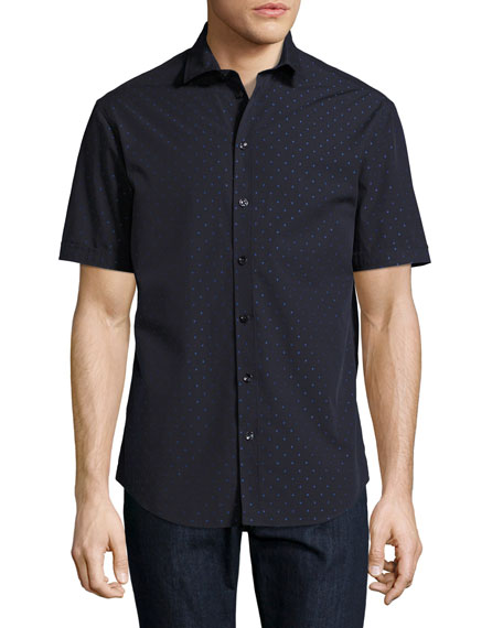 Neat Dot Short-Sleeve Sport Shirt, Navy Blue