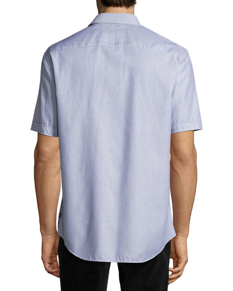 Neat Diamond Short-Sleeve Sport Shirt, Blue