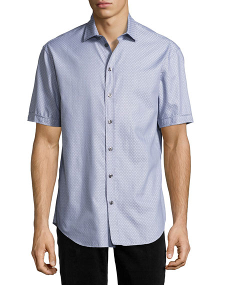 Armani Collezioni Neat Diamond Short-Sleeve Sport Shirt, Blue