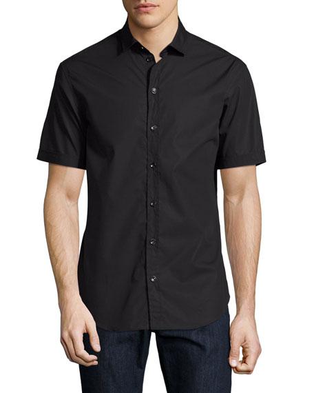 Solid Short-Sleeve Cotton Shirt, Black