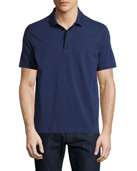 Contrast-Tip Polo Shirt, Blue