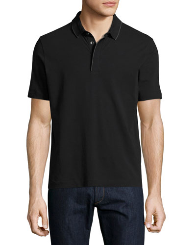 Contrast-Tip Polo Shirt, Black