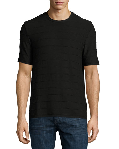 Textured-Stripe Crewneck T-Shirt, Black